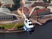 Filmacion con helicoptero en San Petersburgo